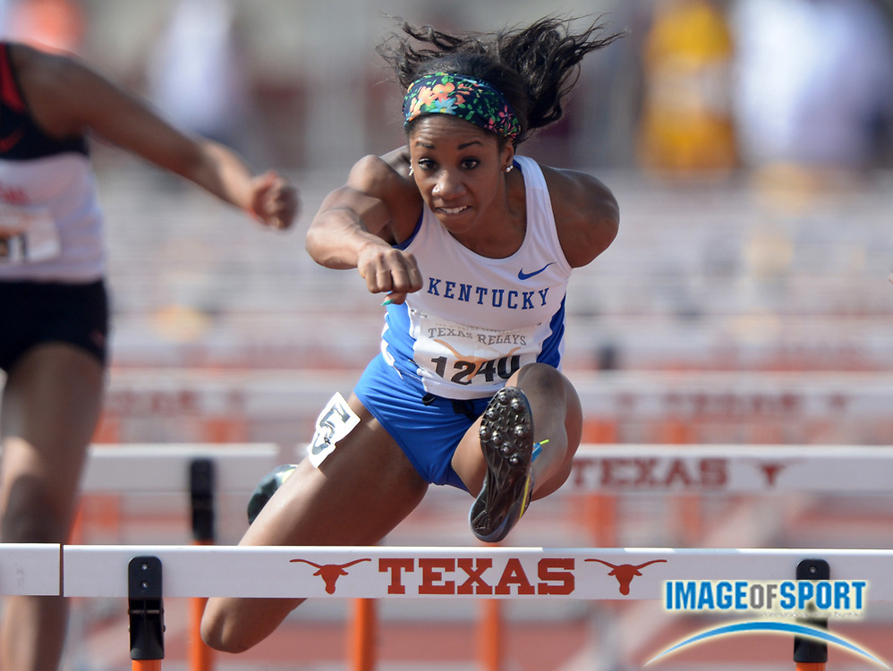 Mar 28, 2014; Austin, TX, USA; Kendra Harrison of Kentucky runs 12.94 for the top qualifying time in the womens 100m hurdles in the 87th Clyde Littlefield Texas Relays at Mike A. Myers Stadium.