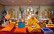Buddhist Monk Venerable David Chutiko meditates using mindfulness of breathing in the Wat Buddhabhavana Buddhist Meditation Center in Westford.