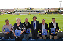The winners of the 1883 sponsors draw<br /> <br /> From Left to Right:<br /> <br /> Pensford Press Ltd (2nd), High Spec Property Services (3rd), The Sportsman Pub (1st) Director of Bristol Rovers Barry Bradshaw, Air Systems (SW) Ltd (5th), Blue Poppy Vehicle Solutions Ltd (4th) <br /> <br />  - Photo mandatory by-line: Dougie Allward/JMP - Mobile: 07966 386802 - 17/04/2015 - SPORT - Football - Bristol - Memorial Stadium