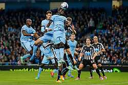 Bacary Sagna of Manchester City heads the ball - Photo mandatory by-line: Rogan Thomson/JMP - 07966 386802 - 29/10/2014 - SPORT - FOOTBALL - Manchester, England - Etihad Stadium - Manchester City v Newcastle United - Capital One Cup Fourth Round.