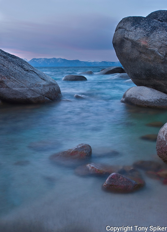 """East Shore Sunrise 1"" - Waves roll in on Lake Tahoe's Eastern Shore at Bonsai Rock"