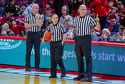 NORMAL, IL - December 20: Brad Maxey, Jamie Broderick and Jeff Cross during a college women's basketball game between the ISU Redbirds and the St. Louis Billikens on December 20 2018 at Redbird Arena in Normal, IL. (Photo by Alan Look)