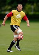 Photo: Richard Lane.<br /> New Zealand Maori training at Rugby School. Barclays Churchill Cup 2007. 21/05/2007. <br /> Maori's Angus MacDonald plays football.