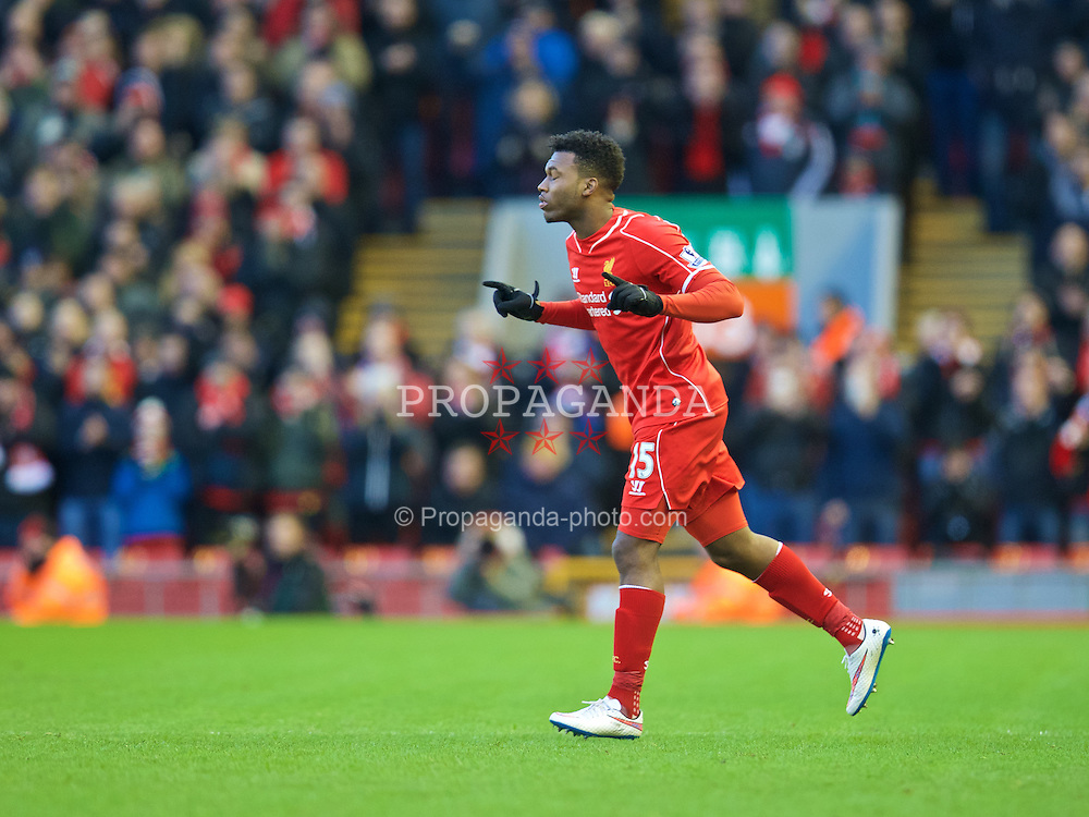 LIVERPOOL, ENGLAND - Saturday, January 31, 2015: Liverpool's substitute Daniel Sturridge comes on against West Ham United during the Premier League match at Anfield. (Pic by David Rawcliffe/Propaganda)