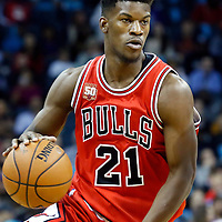 03 November 2015: Chicago Bulls guard Jimmy Butler (21) dribbles during the Charlotte Hornets  130-105 victory over the Chicago Bulls, at the Time Warner Cable Arena, in Charlotte, North Carolina, USA.