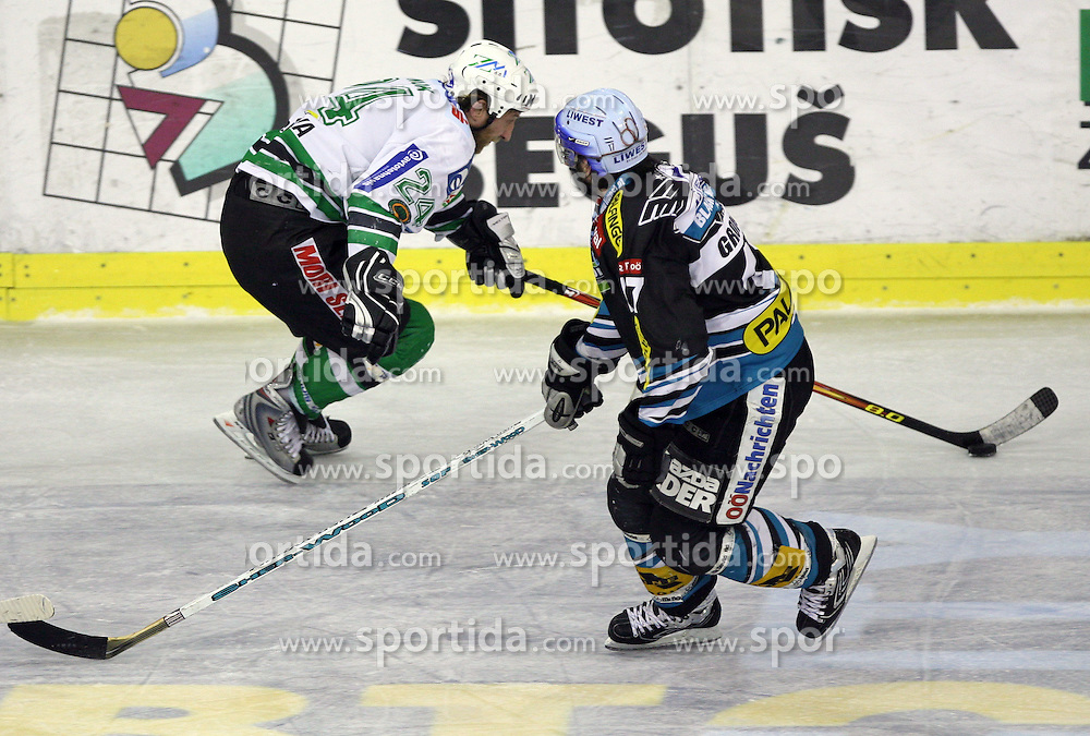Tomaz Vnuk of ZM Olimpija and Francois Groleau of Linz at ice hockey matchZM Olimpija vs Liwest Linz in second round of semi-final of Ebel League (Erste Bank Eishockey Liga),  on February 28, 2008 in Arena Tivoli, Ljubljana, Slovenia. Win of ZM Olimpija 3:2. (Photo by Vid Ponikvar / Sportal Images)