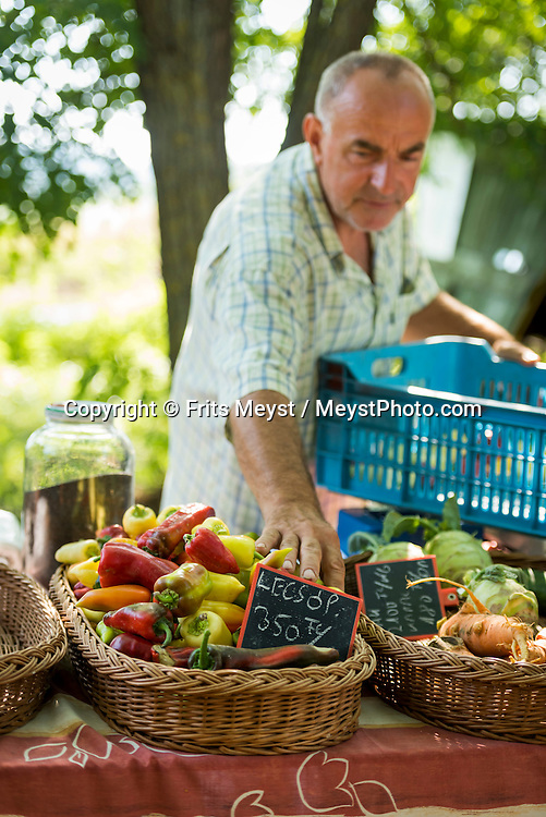 Balaton, Hungary, August 2015. The Liliomkert farmers market in Káptalantóti is the most famous marketplace in the area of Lake Balaton. The market is open every Sunday, so weekenders from Budapest are coming to Liliomkert to buy bread or goat cheese. Lake Balaton is a freshwater lake in the Transdanubian region of Hungary. It is the largest lake in Central Europe and one of the region's foremost tourist destinations. The mountainous region of the northern shore is known both for its historic character and as a major wine region, while the flat southern shore is known for its resort towns. Photo by Frits Meyst / MeystPhoto.com