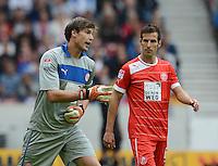 FUSSBALL   1. BUNDESLIGA  SAISON 2012/2013   3. Spieltag  15.09.2012 VfB Stuttgart - Fortuna Duesseldorf     Torwart Fabian Giefer (li, Duesseldorf) und Jens Langeneke (re, Duesseldorf)