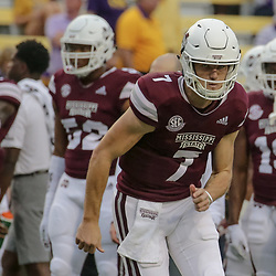 Oct 20, 2018; Baton Rouge, LA, USA; Mississippi State Bulldogs quarterback Nick Fitzgerald (7) before kickoff against the LSU Tigers at Tiger Stadium. Mandatory Credit: Derick E. Hingle-USA TODAY Sports