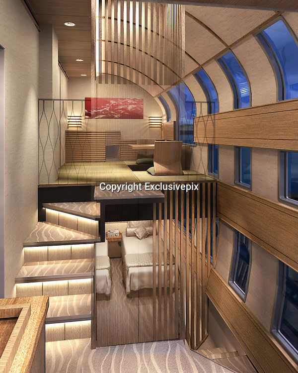 All aboard! Ferrari designer unveils plans for new &pound;30m ultra-luxury train in Japan ... with glass walls and high-end bedroom suites<br />