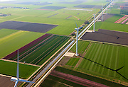 Nederland, Flevoland, Zeewolde, 01-05-2013; Wind farm De Zuidlob. Het windmolenpark (windpark) is een initiatief van  lokale agrariers / boeren en Nuon - Vattenfall. De bollenvelden worden besproeid..The wind farm in the polder Flevoland is an initiative of local farmers and Nuon - Vattenfall. Bulb fields between the windmills..Luchtfoto (toeslag op standard tarieven).aerial photo (additional fee required).copyright foto/photo Siebe Swart