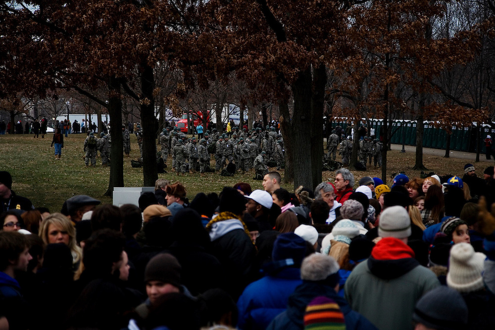 Obama Inauguration - Sunday concert on the National Mall, Washington monument and Lincoln Memorial. National guard troops staging near the Lincoln Memorial following the large outdoor concert.