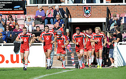 Gloucester United players emerge from the tunnel at Taunton RFC - Mandatory by-line: Paul Knight/JMP - 02/10/2016 - RUGBY - Hyde Park - Taunton, England - Bristol United v Gloucester United - Aviva A League