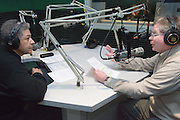 "Charles Fox (black sweater) of the University's Office of Diversity,  interviews Rich Greenlee, Associate Provost for Appalachian Access and Enrichment Programs, for a segment for ""Conversations from Studio B"" at WOUB studios on 2/7/07."