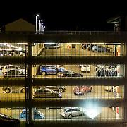 9 desember 2014. 15 dager til julaften. Folk st&aring;r i k&oslash; for &aring; betale parkering f&oslash;r forestillingen Sissels Jul med Sissel Kyrkjeb&oslash; p&aring; Kilden Teater- og Konserthus i Kristiansand.<br /> <br /> Desember 9 2014. 15 days before christmas eve in Kristiansand. People are ligning up to pay parking fare before the evenings show. Sissel Jul with artist Sissel Kyrkjeb&oslash; are playing at Kildens consert house in Kristiansand.