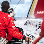 Leg Zero, Rolex Fastnet Race: start on board MAPFRE, People on the bow. Photo by Ugo Fonolla/Volvo Ocean Race. 07August, 2017