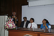 Prof.Indur Fagoonee Vice chancellor, Farhad Khoyratty, Dr. Satish Mahadeo and Prof. Satinter Raghobur. University of Mauritius lecture Hall. Le Prince Maurice Prize. Mauritius. 26 May 2006. ONE TIME USE ONLY - DO NOT ARCHIVE  © Copyright Photograph by Dafydd Jones 66 Stockwell Park Rd. London SW9 0DA Tel 020 7733 0108 www.dafjones.com