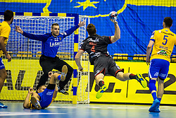 Ferlin Klemen of RK Celje Pivovarna Lasko and Golla Johannes of SG Flensburg-Handewitt during handball match between RK Celje Pivovarna Lasko (SLO) and SG Flensburg Handewitt (GER) in 3rd Round of EHF Men's Champions League 2018/19, on September 30, 2018 in Arena Zlatorog, Celje, Slovenia. Photo by Grega Valancic / Sportida