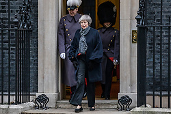© Licensed to London News Pictures. 10/01/2019. London, UK. Prime Minister Theresa May leaves 10 Downing Street as she prepares to meet Prime Minister of Japan Shinzo Abe. Photo credit: Rob Pinney/LNP
