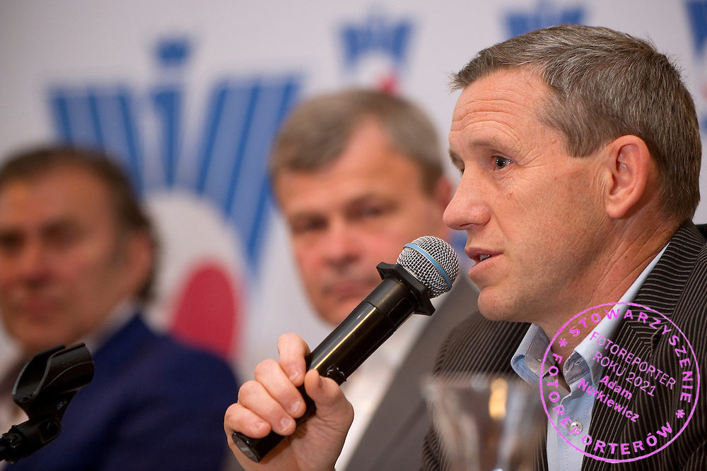 (R) Wojciech Andrzejewski during press conference of Polish Tennis Association at Marriott Hotel in Warsaw, Poland.<br /> <br /> Poland, Warsaw, June 19, 2013<br /> <br /> Picture also available in RAW (NEF) or TIFF format on special request.<br /> <br /> For editorial use only. Any commercial or promotional use requires permission.<br /> <br /> Photo by © Adam Nurkiewicz / Mediasport