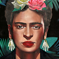 Frida Kahlo Mural by Street Art Chilango in Playa del Carmen, Mexico <br />