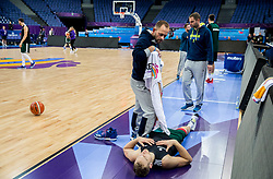 Gregor Zdolsek and Jaka Blazic of Slovenia at training session during of the FIBA EuroBasket 2017 at Hartwall Arena in Helsinki, Finland on September 4, 2017. Photo by Vid Ponikvar / Sportida