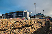 Construction work behind SportsDirect.com Park, Oldham prior to the Sky Bet League 1 match between Oldham Athletic and Blackpool at SportsDirect.Com Park, Oldham, England on 15 March 2016. Photo by Mike Sheridan.