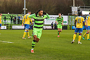 Forest Green Rovers Keanu Marsh-Brown(7) celebrates his goal, 1-0 during the Vanarama National League match between Forest Green Rovers and Torquay United at the New Lawn, Forest Green, United Kingdom on 1 January 2017. Photo by Shane Healey.