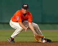 Oregon State second basemen fields a ground ball in the second inning against North Carolina.  North Carolina defeated Oregon State 4-3 in the first game of the Championship Series at the College World Series at Rosenblatt Stadium in Omaha, Nebraska, June 24, 2006.