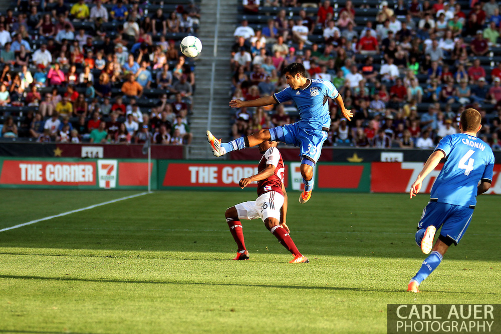 June 15th, 2013 - San Jose Earthquake defender Steven Beitashour (33) kicks the ball away from Colorado Rapids forward Deshorn Brown (26) in the first half of the MLS match between San Jose Earthquake and the Colorado Rapids at Dick's Sporting Goods Park in Commerce City, CO
