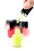 Fingernail polish on white background