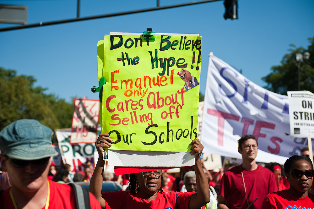 Chicago Teachers Union members and allies march west on Washington Boulevard on September 15, 2012.