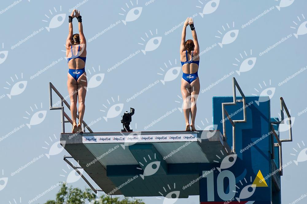 BATKI Noemi PELLACANI Chiara ITA Gold medal<br /> Women's 10m synchronised platform final<br /> 23rd FINA Diving Grand Prix 2017 Trofeo UnipolSai<br /> Bolzano ITA<br /> July 05 - 07, 2017<br /> Day03 07-07-2017<br /> Photo Giorgio Perottino/Deepbluemedia/Insidefoto