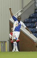 Photo: Aidan Ellis.<br /> Blackburn Rovers v Manchester City. The Barclays Premiership. 17/09/2006.<br /> Rovers Benni McCarthy celebrates his goal and teams third