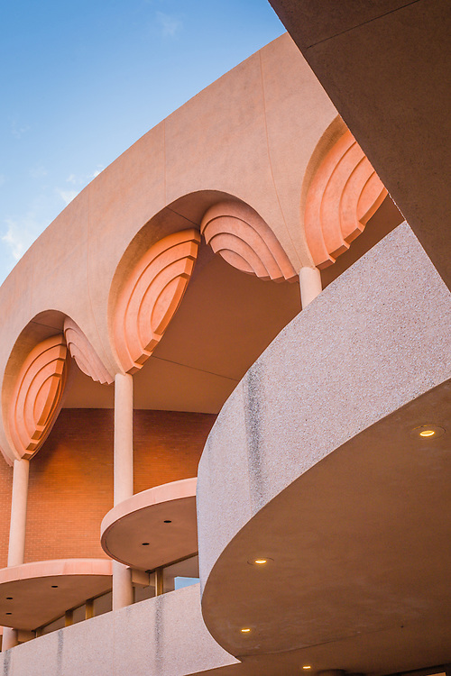 A detail architectural photograph of Gammage Auditorium at Arizona State University, Tempe, Arizona