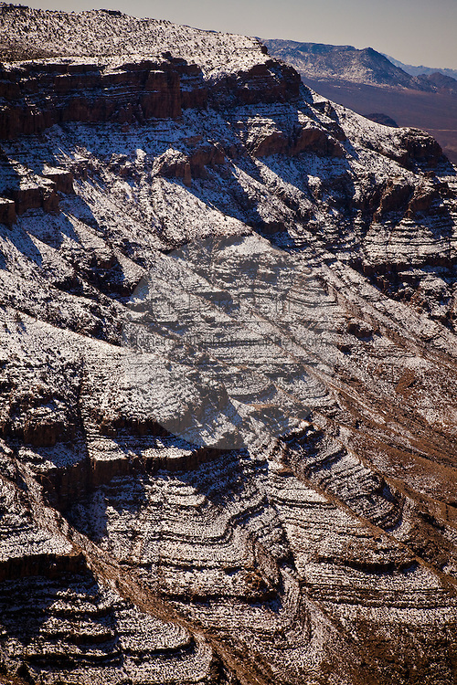 Aerial view of snow on the west rim of the Grand Canyon National Park inside the Hualapai Indian Reservation, Arizona, USA