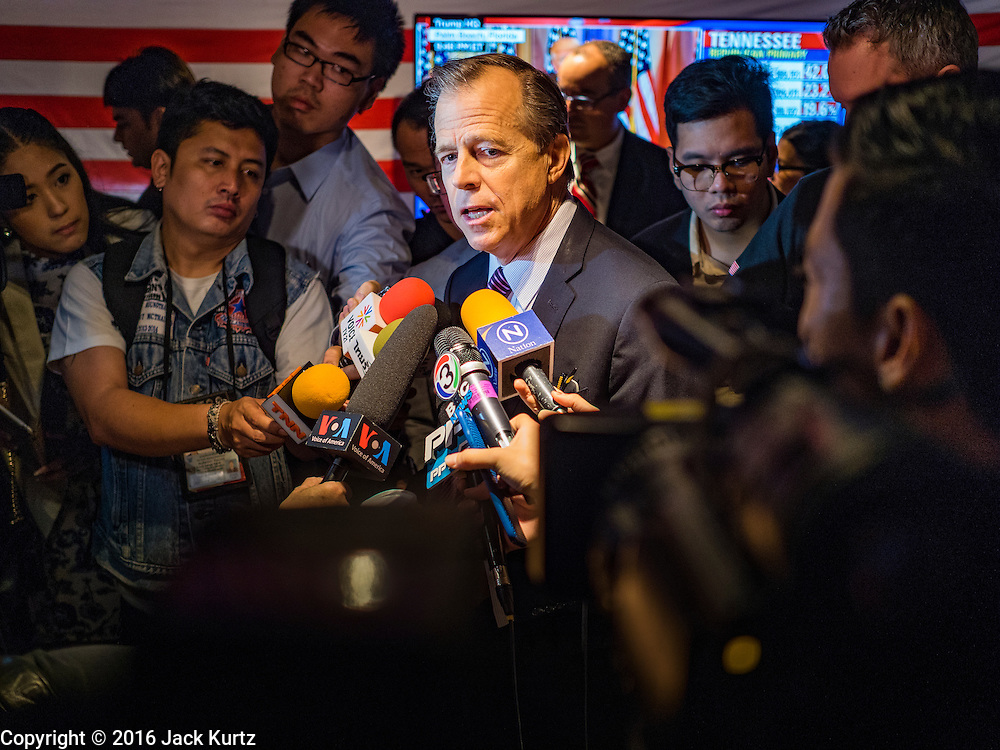 """02 MARCH 2016 - BANGKOK, THAILAND: Glyn T. Davies, US Ambassador to Thailand, gives a press conference about the US political process during an election watch event on """"Super Tuesday"""" sponsored by the US Embassy at Dean & Delucca in Bangkok.   PHOTO BY JACK KURTZ"""
