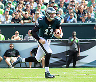 Philadelphia Eagles quarterback Carson Wentz #11 runs with the ball against the Cleveland Browns in the fourth quarter Sunday, September 11, 2016 at Lincoln Financial Field in Philadelphia, Pennsylvania.  (Photo by William Thomas Cain)
