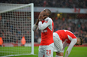 Arsenal Forward Joel Campbell makes it 1-1 during the The FA Cup match between Arsenal and Sunderland at the Emirates Stadium, London, England on 9 January 2016. Photo by Adam Rivers.