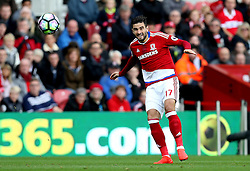 Antonio Barragan of Middlesbrough crosses the ball - Mandatory by-line: Robbie Stephenson/JMP - 16/10/2016 - FOOTBALL - Riverside Stadium - Middlesbrough, England - Middlesbrough v Watford - Premier League