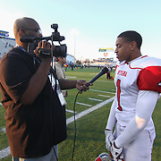 Smyrna eagles wide receiver Charlie Taylor (1) talks to the media after Smyrna defended Salesianum 32-26 in overtime Saturday, Dec. 05, 2015 at Delaware Stadium in Newark.