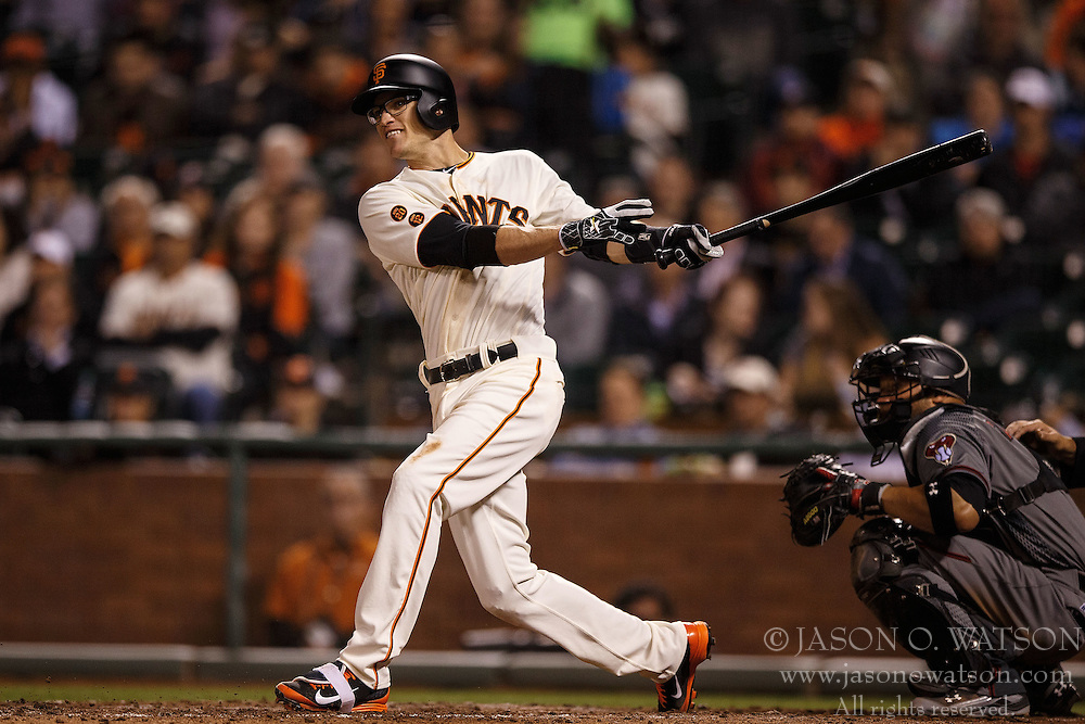 SAN FRANCISCO, CA - APRIL 18: Kelby Tomlinson #37 of the San Francisco Giants at bat against the Arizona Diamondbacks during the fifth inning at AT&T Park on April 18, 2016 in San Francisco, California. The Arizona Diamondbacks defeated the San Francisco Giants 9-7 in 11 innings.  (Photo by Jason O. Watson/Getty Images) *** Local Caption *** Kelby Tomlinson