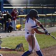 Delaware Outfielder Shelby Jones (3) bats during a Colonial Athletic Association regular season softball game between Delaware and Hofstra Saturday, April 16, 2016, at Delaware softball stadium in Newark, Delaware.