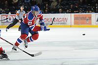 KELOWNA, CANADA, FEBRUARY 15: Curtis Lazar #27 of the Edmonton OIl Kings skates on the ice at the Kelowna Rockets on February 15, 2012 at Prospera Place in Kelowna, British Columbia, Canada (Photo by Marissa Baecker/Shoot the Breeze) *** Local Caption ***