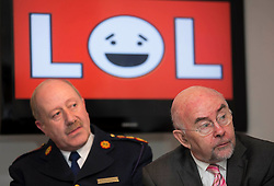 Repro Free: 04/02/2013.Martin Callinan, Garda Commissioner is pictured with Ruairí Quinn TD, Minister for Education and Skills at an event to mark Safer Internet Day and to launch A new cyber bullying report. Safer Internet Day 2013 marks the launch of two new initiatives for 2013 - The 'Watch your Space' public awareness anti cyber-bullying campaign and a new Garda Primary Schools Programme module 'Connect with Respect', which deals with online bullying. For further information visit, www.watchyourspace.ie. Picture Andres Poveda