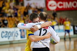 Sebastjan Skube and Gorazd Skof of Koper celebrate during handball match between RK Cimos Koper and RK Gorenje Velenje of Slovenian Cup 2011/2012, on November 30, 2011 in Arena Bonifika, Koper, Slovenia. Cimos Koper defeated Gorenje Velenje 27-21 and qualified to quarterfinals. (Photo By Vid Ponikvar / Sportida.com)
