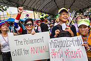 17 FEBRUARY 2014 - BANGKOK, THAILAND: Anti-government protestors cheer for Suthep Thaugsuban, leader of the protest movement, at Government House. The anti-government protest movement, led by the People's Democratic Reform Committee and called Shutdown Bangkok has been going on for more than a month. The protest movement called, the People's Democratic Reform Committee (PDRC), wants to purge the current ruling party and its patrons in the Shinawatra family from Thai politics. The movement has consistently refused any dialogue or negotiations with the Pheu Thai ruling party. Over the weekend Thai police claimed to have taken the protest areas around Government House (the Prime Minister's office) away from protestors but on Monday protestors marched unimpeded to Government House and retook the area.   PHOTO BY JACK KURTZ