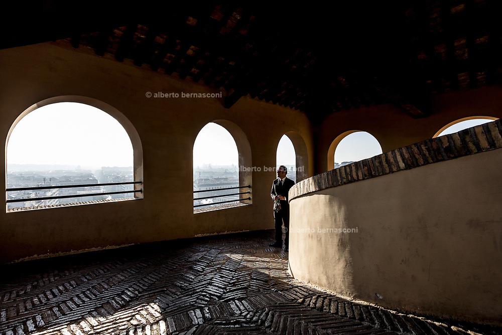 Rome, Vatican Museums, rising sun at the top of Scalinata del Bramante