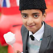 Basil Ahmad, 10 years old from Ahmadiyya Muslim Community UK celebrating the Diamond Jubilee at the Athletics Stadium, Wimbledon Park. London 3rd June 2012