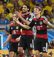 Sami Khedira (centre) of Germany celebrates scoring their fifth goal during the 2014 FIFA World Cup match at Mineir&atilde;o, Belo Horizonte<br /> Picture by Stefano Gnech/Focus Images Ltd +39 333 1641678<br /> 08/07/2014